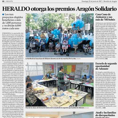Heraldo de Aragón otorga el premio Aragón Solidario
