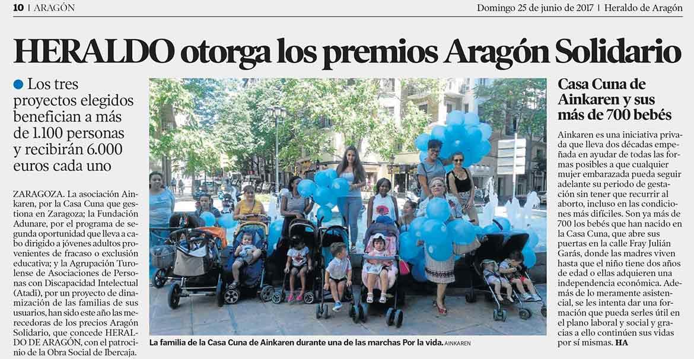 Heraldo de Aragón otorga a Ainkaren Casa Cuna el premio Aragón Solidario